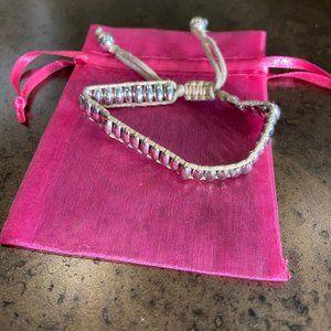 Silver Friendship Bracelet on Neutral Rope